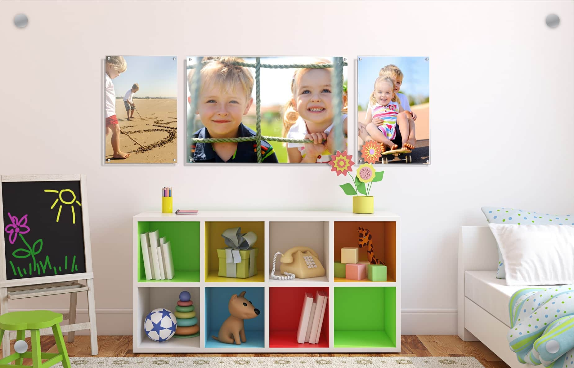 Sample image of Wallkeepers app in action. Three photos in a grid overlayed on to an interior wall.