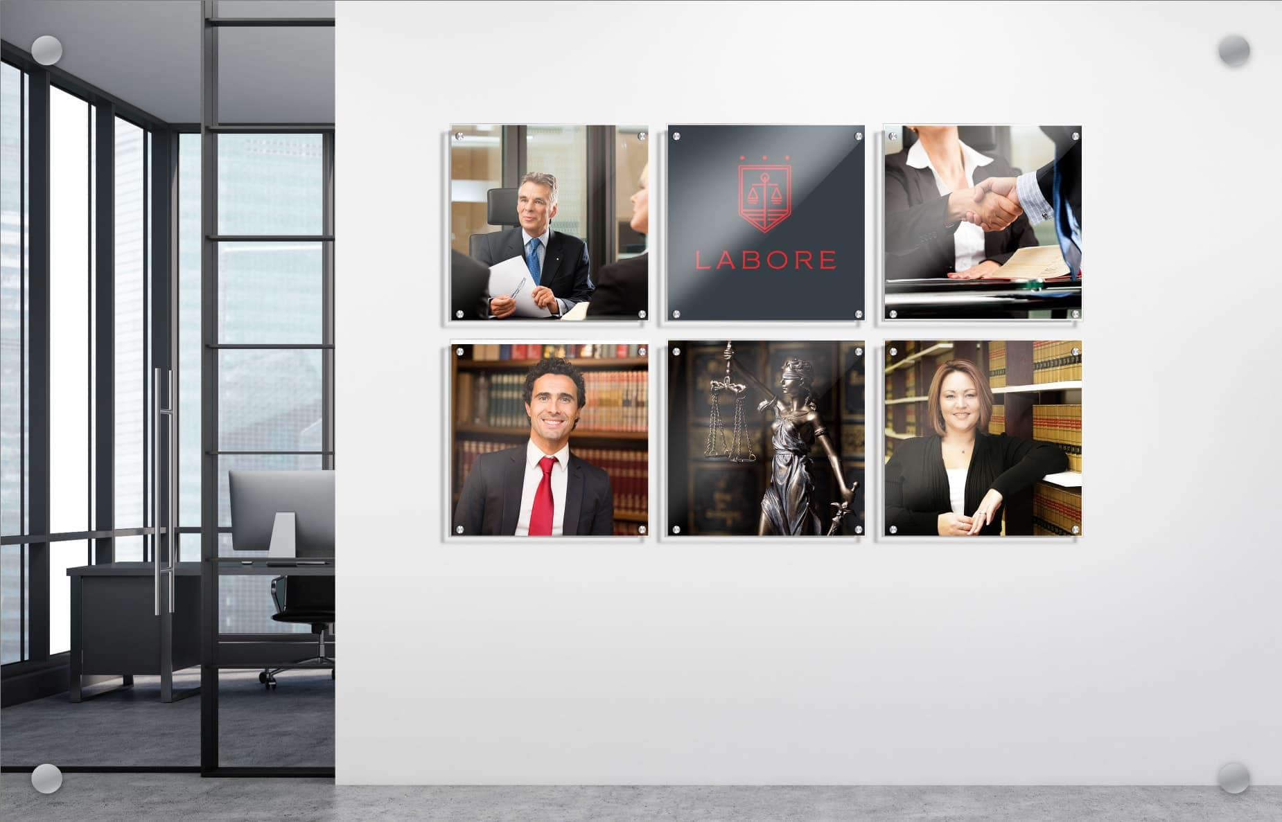 Sample image of Wallkeepers finished product. Six photos in a grid overlayed on to an interior wall.