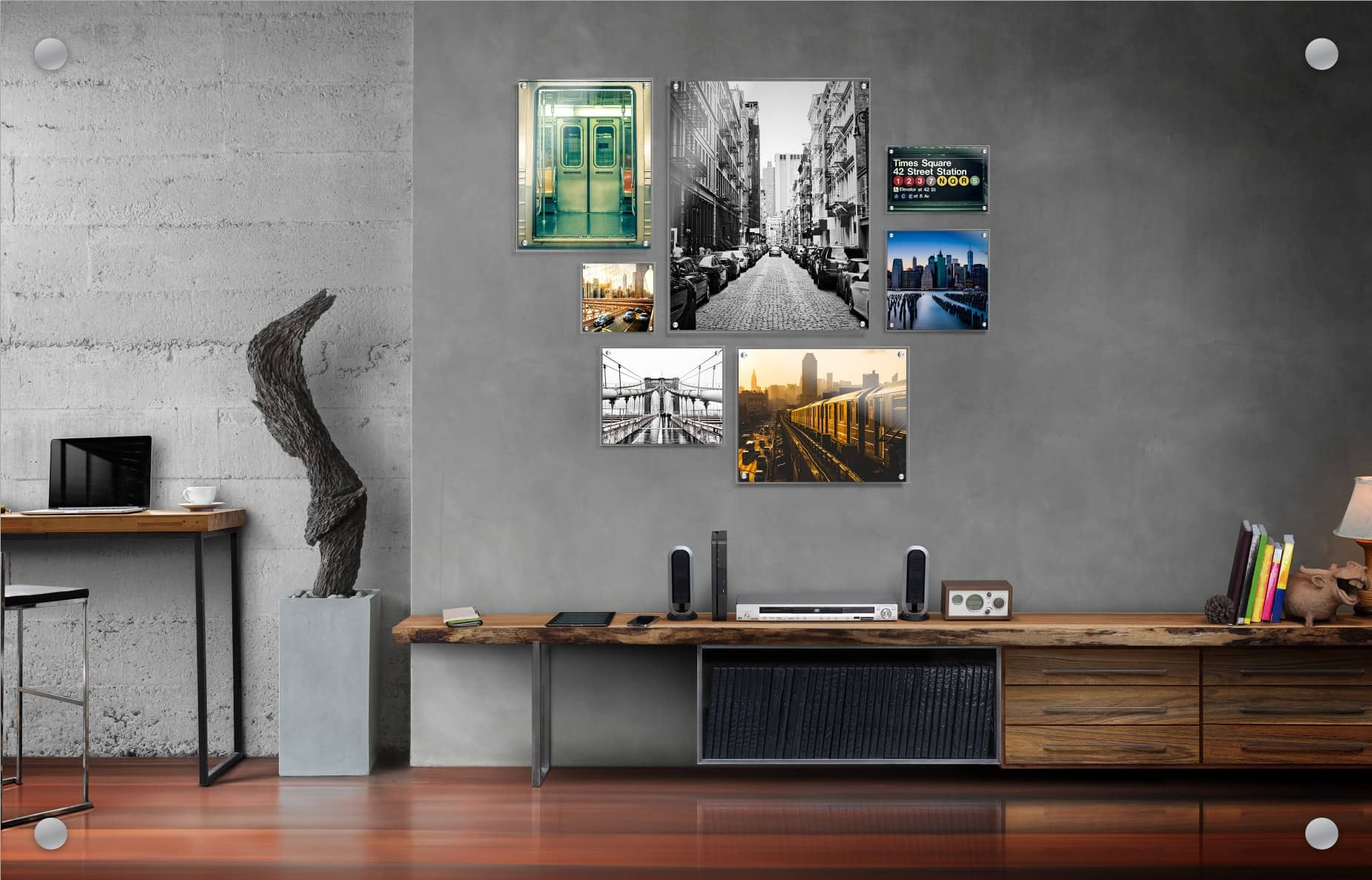 Sample image of Wallkeepers app in action. Seven photos in a grid overlayed on to an interior wall.